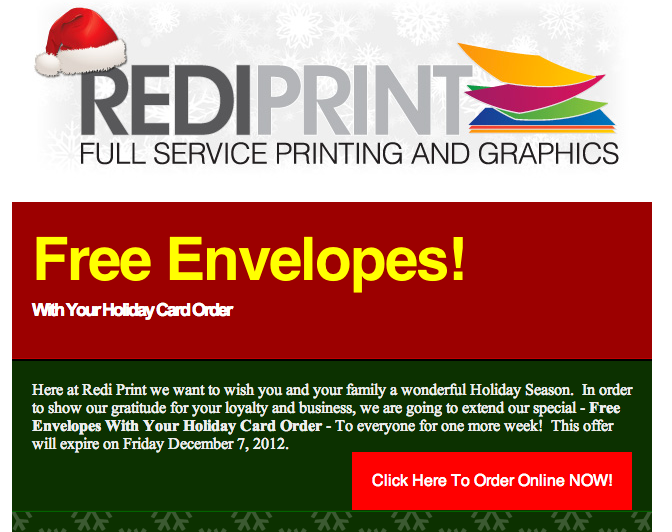 Free Envelopes With Your Holiday Card Order!